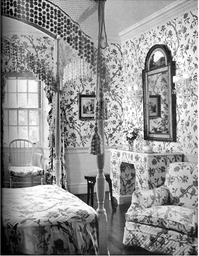 I love this bedroom by Frances Elkins, from the residence of Mrs. Marshall Field. The uniform of pattern is fantastic.