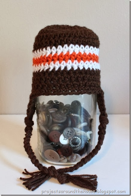 Crochet Striped Earflap Hat Pattern 0-3 Month