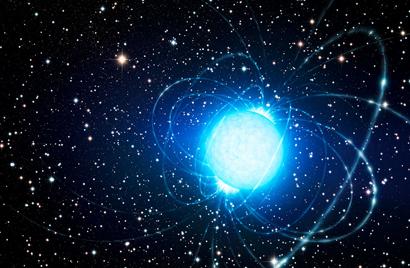ilustração da estrela magnética no aglomerado estelar Westerlund 1