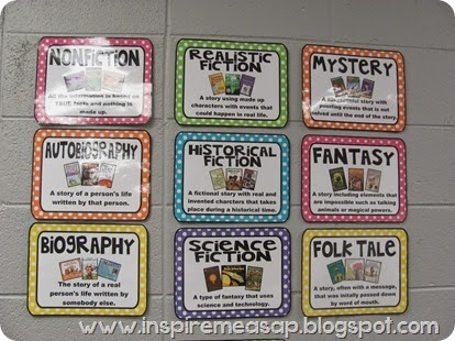 reading genre bulletin board posters- an array