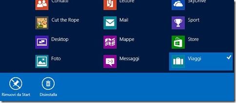 Windows 8 Disinstalla applicazione
