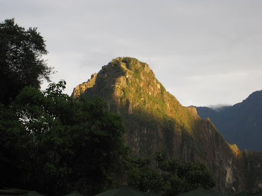 Sunrise over Wayna Picchu mountain.
