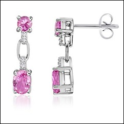 Oval, Round Pink Sapphire and Diamond Earrings