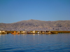 Uros floating islands on Lake Titicaca.