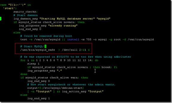 nano /etc/init.d/mysql