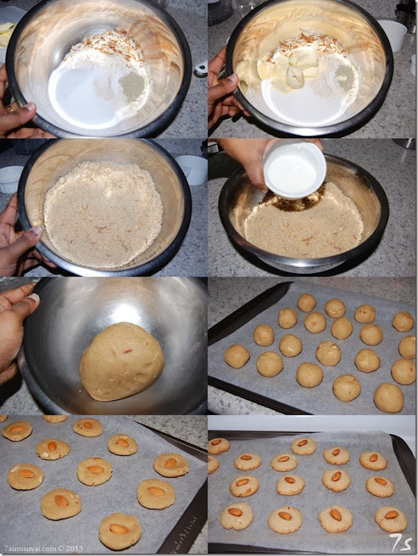 Eggless wheat almond cookies process
