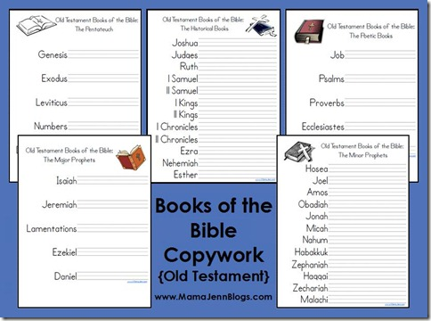 Worksheets Books Of The Bible Worksheet old testament books of the bible printables copywork