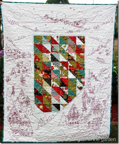 Night Before Christmas Embroidery Quilt from Girls in the Garden blog