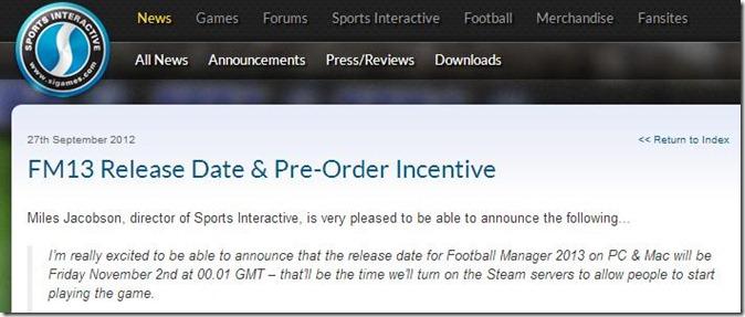FM 2013 Release Date