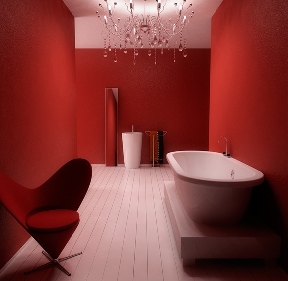Modern-RED-Bath-Heart-Chair