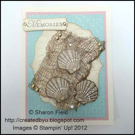 fish net and natures nest shell card by sharon field 040812