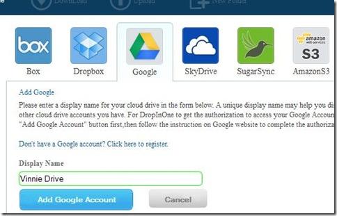 DropInOne collegare servizi cloud storage