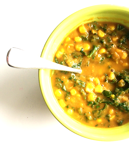 sweet potato, corn, + kale chowder