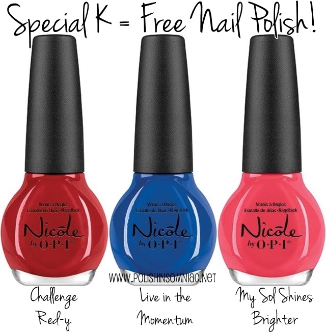 It's Back! Free nail polish from Nicole by OPI + Special K!