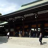 japanese people leaving the meiji shrine in Yoyogi, Tokyo, Japan