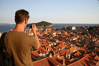 Todd taking a photo of Dubrovnik, from the city walls