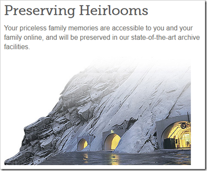 FamilySearch advertizes preservation of family memories.