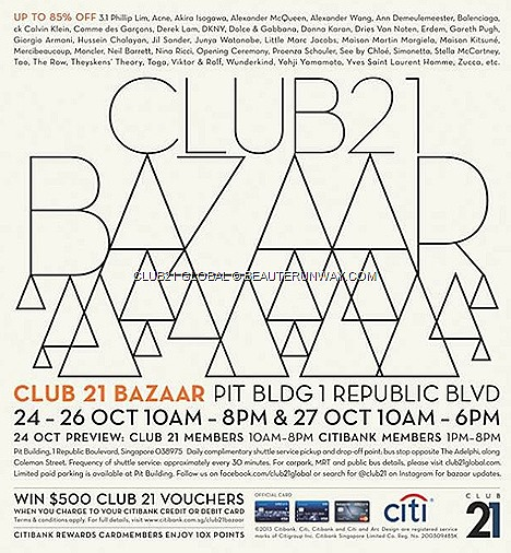 Club 21 bazaar sale 2013 Spring Summer Fall winter alexander McQueen DKNY CK YSL, Marc Jacobs Dolce Gabbana balenciaga designers labels warehouse deals Singapore Pit Building