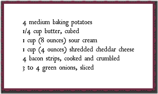 Bacon 'N' cheese stuffed potatoes Recipe Ingredients