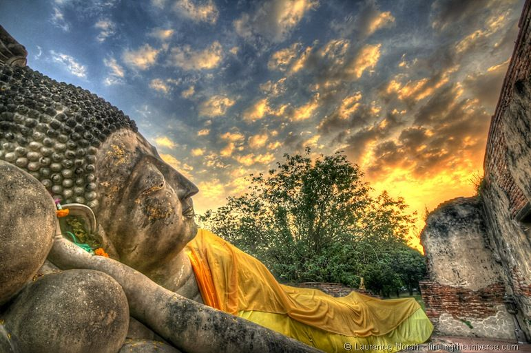 Reclining buddha at sunset