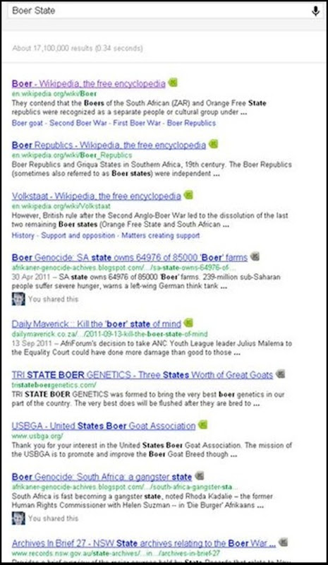 Boerestaat 171 000 000 Google results Dec 23 2011