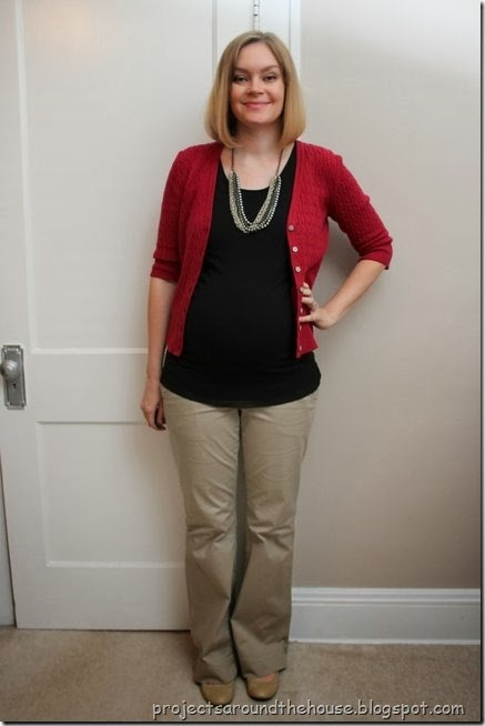 Maroon cardigan, black tank, tan pants