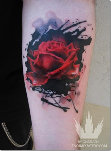 rose-watercolor-tattoo-design-painting-on-skin-flower-body-art-passion