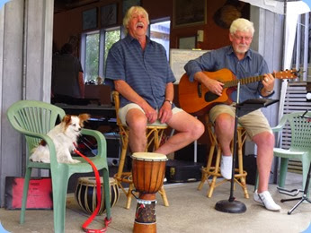 The Amigos, (L:R) Geoff Pickstone and Peter Wilton together with number one fan Pippin!