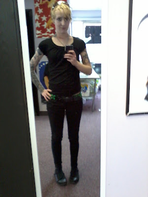 casual alt goth industrial fashion - Raivyn dK - ambiance apparel, dickies, lovesick, sketchers