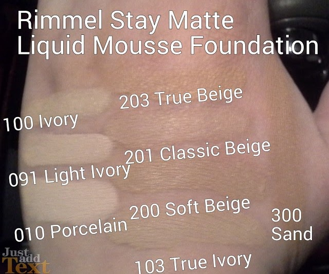Rimmel Stay Matte Liquid Mousse Foundation Review & Swatches of Shades 100 Ivory, 091 Light Ivory, 010 Porcelain, 103 True Ivory, 200 Soft Beige, 201 Classic Beige, 203 True Beige, 300 Sand