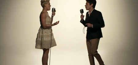 Pink and Nate Ruess in Just Give Me A Reason music video