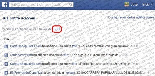 Notificaciones de Facebook por RSS - notificaciones de facebook