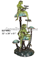 Two Frogs Sitting on Mushrooms - Special Patina