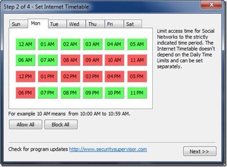 internet-security-controller-limiteaza durata de timp pe facebook