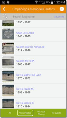Memorial photos from Ancestry.com Find A Grave app for Android