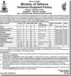 OEF Kanpur - www.indgovtjobs.in