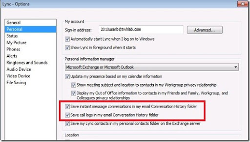 Microsoft UC and other stuff...: Completely Disable IM Archiving ...