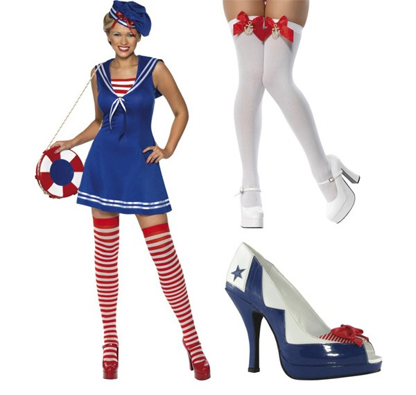 Smiffys Australia Sailor Cutie Costume - Thigh High Stockings with Anchors (3)