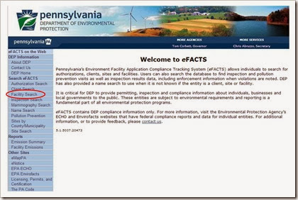 PADEP Pennsylvania Air Permitting Environmental Efacts Database