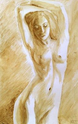 Nud feminin pictura facuta cu cafea
