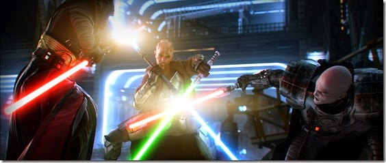 A skilled Jedi Master duels with two Sith Lords