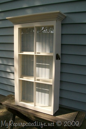 repurposed window wall cabinet