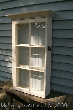 repurposed window wall cabinet