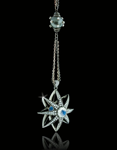 If your neckline calls for a pendant, this moonstone and diamond style would be stunning.