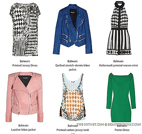 Balmain SALE THE OUTNET.COM 2013 offers Pierre Balmain Parisan women's clothing leather biker's jacket, embellished wool blazers, glam rock jersey dresses, silk shirt, pants, stretch denim skinny jeans accessories designer fashion