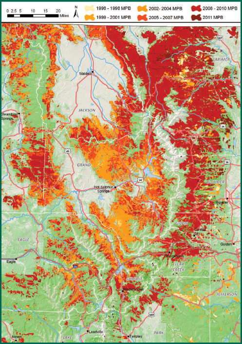 Progression of Colorado Mountain Pine Beetle, 1996-2011. Colorado State University