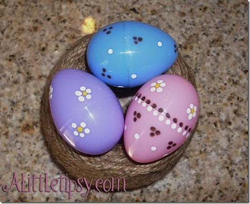 Dot painted plastic easter eggs
