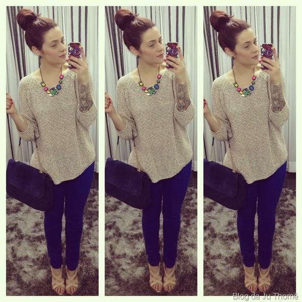 look calça azul, tricot colorido zara e sandalia nude (2)