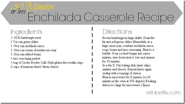 Capture of 30 minute meals _Enchilada Casserole printable recipe