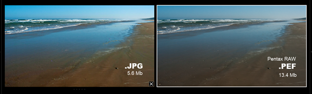 Side by side comparison of jpg and RAW as loaded into lightoom.